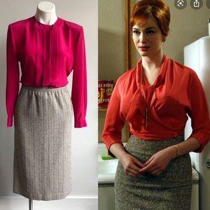 Vintage Wool-Blend Pencil Skirt